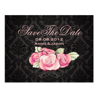 Gothic Black damask pink rose bridal shower Postcard