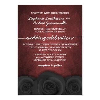 "Gothic Black Rose Halloween Wedding Invitations 5"" X 7"" Invitation Card"