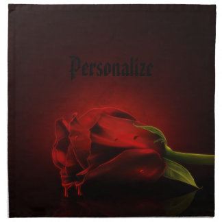 Gothic Bloody Red Rose Personalized Napkins