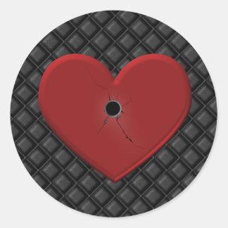 Gothic Bullet Hole Heart Round Sticker