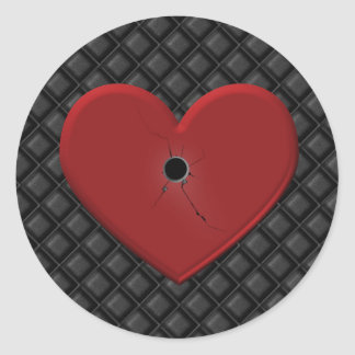 Gothic Bullet Hole Heart Sticker