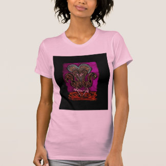 Gothic Flamingo Love neon black boarder T-shirts