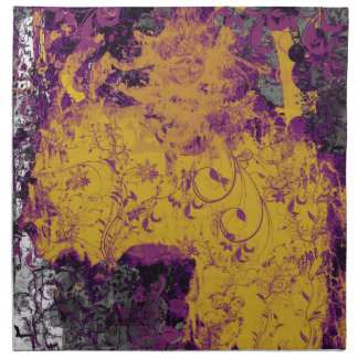 Gothic Floral Style Purple and Gold Table Napkins