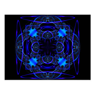 Gothic Fractals Prussian Blue postcard
