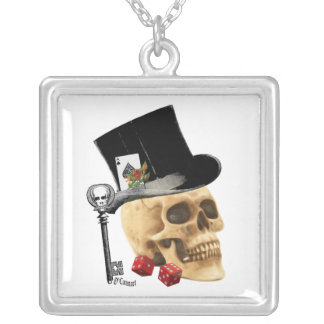 Gothic gambler skull tattoo design silver plated necklace