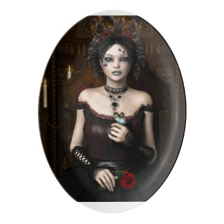 Gothic Girl With Butterfly and Rose Porcelain Serving Platter