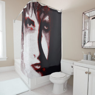 Gothic God Post Punk Goth Music Man Portrait Art Shower Curtain