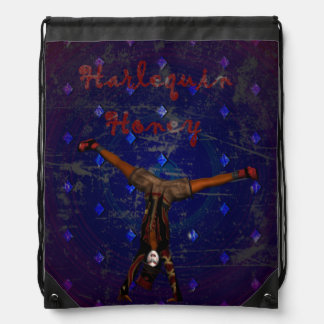 GOTHIC HARLEQUIN CLOWN ON PURPLE BACKPACK