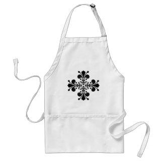 Gothic punk royal fleur de lis damask black gray standard apron