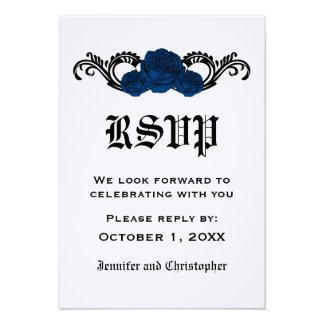 Gothic Swirl Roses Response Card Blue Invitation