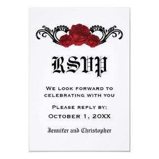 Gothic Swirl Roses Response Card, Red 9 Cm X 13 Cm Invitation Card