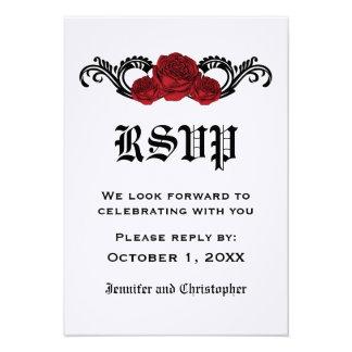 Gothic Swirl Roses Response Card Red Invitation