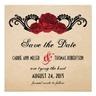 Gothic Swirl Roses Save the Date Invite Red