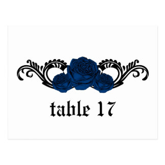 Gothic Swirl Roses Table Number Postcard Blue