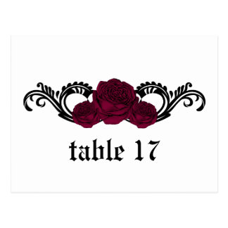 Gothic Swirl Roses Table Number Postcard Fuchsia