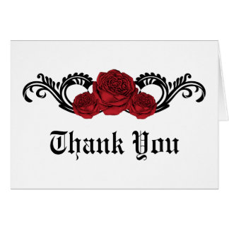 Gothic Swirl Roses Thank You Card, Red