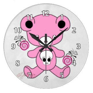 Gothic Teddy Bear Pink Clock