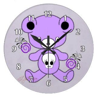 Gothic Teddy Bear Purple Wall Clock