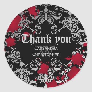 Gothic vampire Halloween wedding thank you Classic Round Sticker