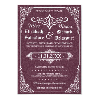 """Gothic Victorian Save the Dates 5"""" X 7"""" Invitation Card"""