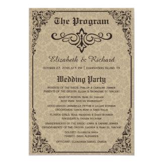 "Gothic Victorian Wedding Programs 5"" X 7"" Invitation Card"
