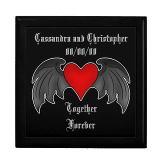 Gothic winged heart Valentines Day Large Square Gift Box
