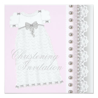 Gown Baby Girl Pink and Gray Christening 13 Cm X 13 Cm Square Invitation Card