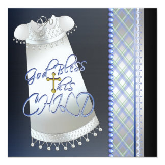 Gown Cross Black Boys Blue Christening 13 Cm X 13 Cm Square Invitation Card