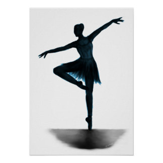 """Grace"" ballerina poster - blue"