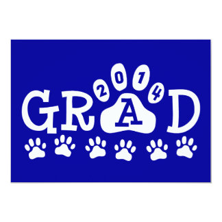 "GRAD 2014 Blue and White PAWS Graduation 5"" X 7"" Invitation Card"