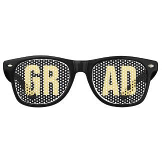 'GRAD' Black and Gold Graduation Party Retro Sunglasses
