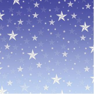 Gradient blue white stars pattern standing photo sculpture