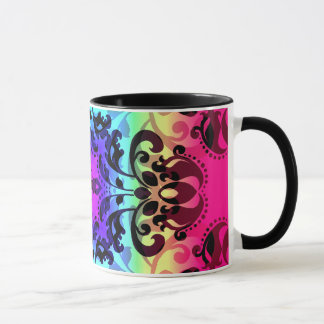 Gradient damask pattern cute and colourful mug