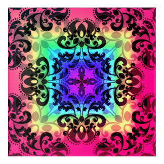 Gradient damask pattern in beautiful colors acrylic print