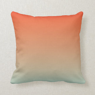 Gradient: Orange Red to Magic Mint Throw Pillows