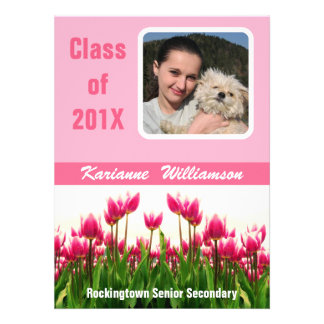 Graduate of 2012 with  Photo  Pretty Pink Tulips Custom Announcements
