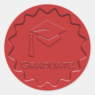 Graduate Sign Red Wax Seal Round Sticker