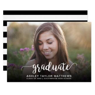 Graduate Typography Photo Graduation Announcement