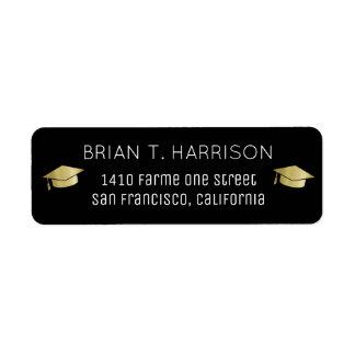 graduation black return address label