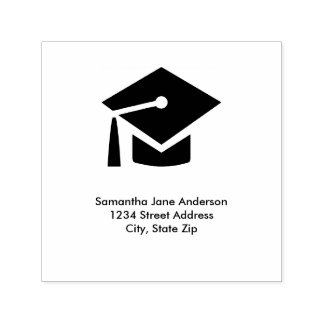 Graduation Cap Square - Self-Inking Address Stamp