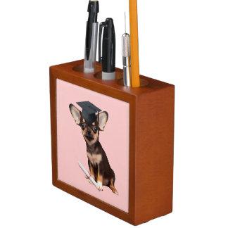 Graduation Chihuahua dog Desk Organiser