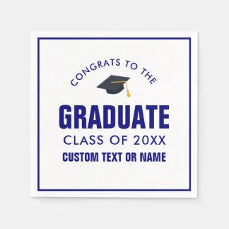 Graduation Class of 2018 Your School Color Blue Disposable Serviette