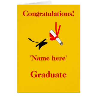 Graduation congratulations, add name front card