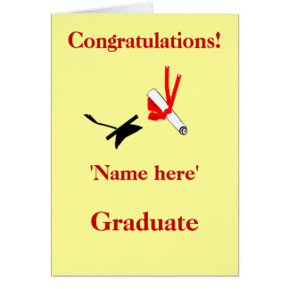 Graduation congratulations, add name front card