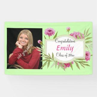 Graduation, Elegant Pink Floral, Photo, Custom Banner