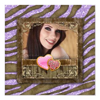 Graduation Grad Zebra Glitter Bling Photo Hearts 13 Cm X 13 Cm Square Invitation Card