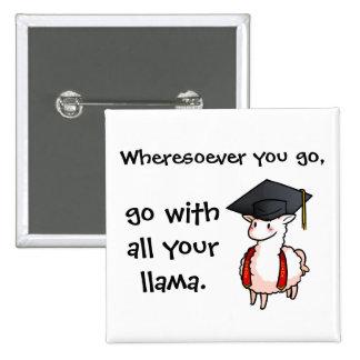 Graduation Llama 15 Cm Square Badge