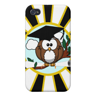 Graduation Owl w/ School Colors Black and Gold Case For iPhone 4