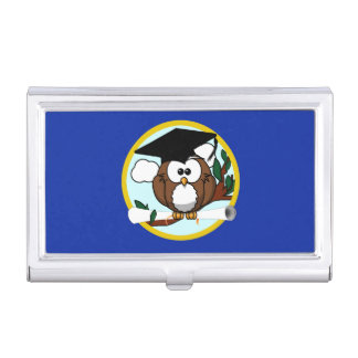 Graduation Owl With Cap & Diploma - Blue and Gold Business Card Holder