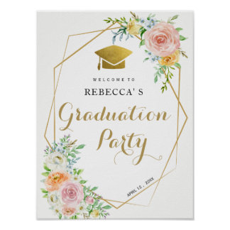 Graduation paryt welcome sign | floral and gold